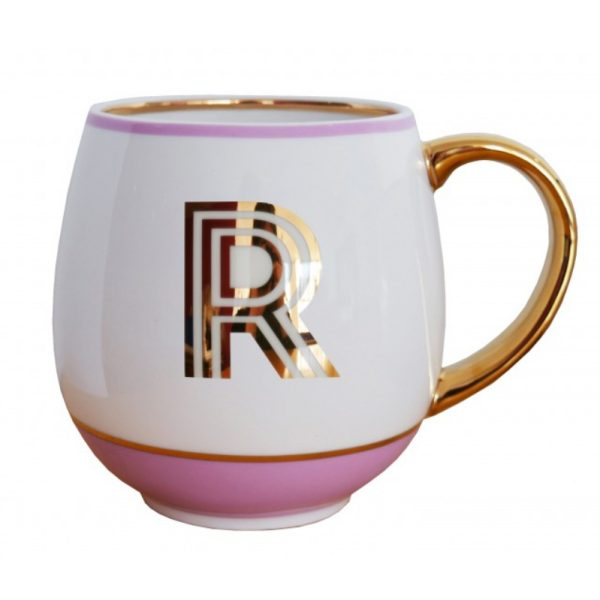 Library Monogram Mug Letter R Blush Pink (VIA104R)