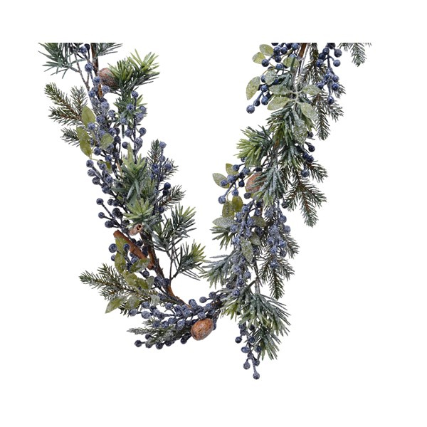 Decorative Frost Garland with Blue Berries (687109)