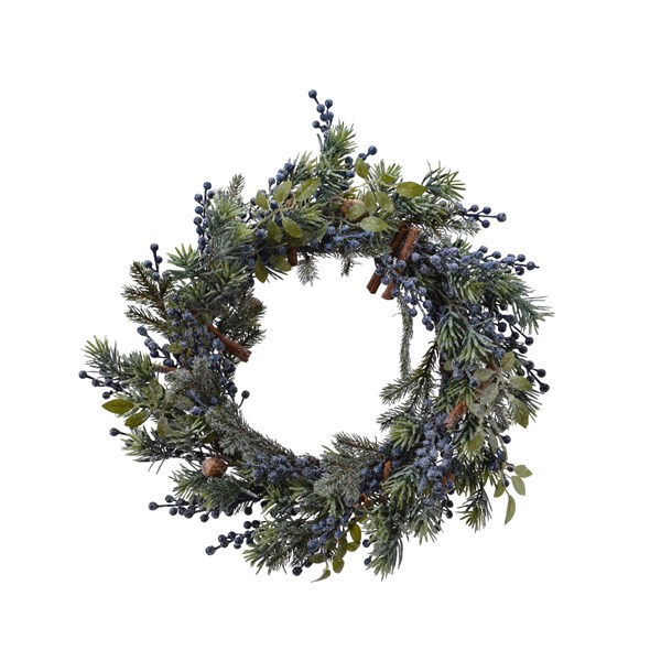 Decorative Frosted Wreath with Blue Berries (687110)