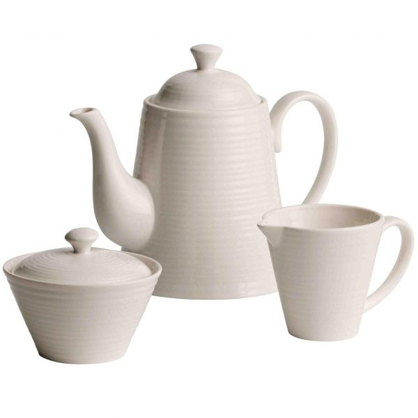 Belleek Living Ripple Beverage Set - Pot, Sugar and Cream (7984)