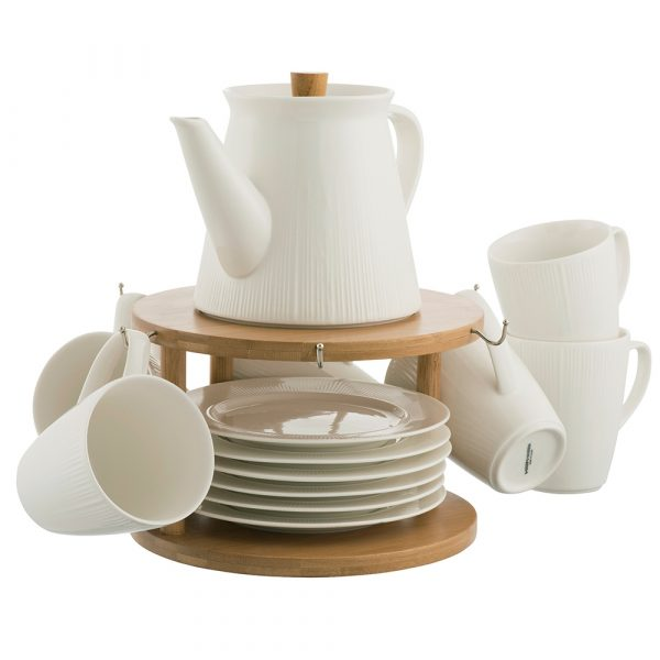 Belleek Living Pekoe 13 Piece Set and Stand (9430)