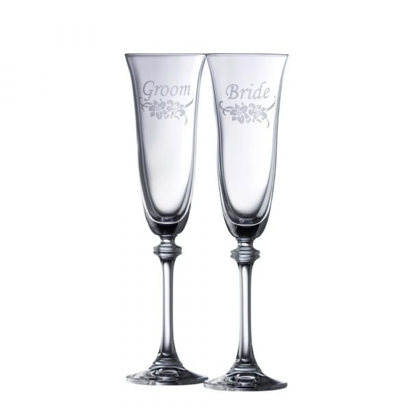 Floral Bride and Groom Liberty Flute (Pair) (G300112)