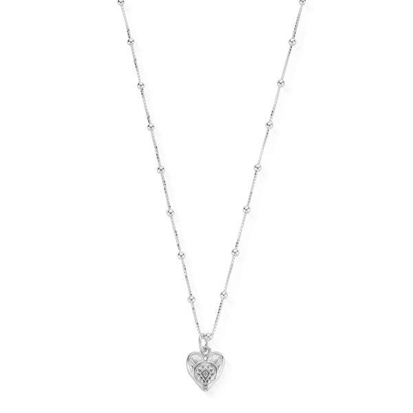Bobble Chain Heart Necklace (SNBB691)