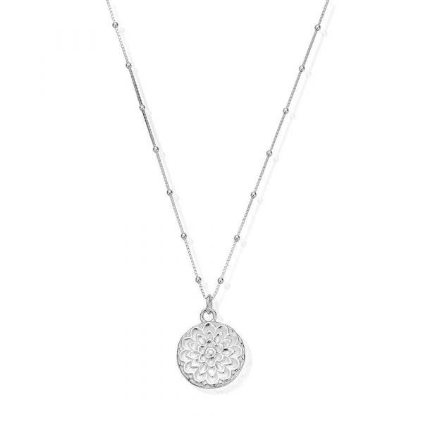 Bobble Chain Moon Flower Necklace (SNBB721)