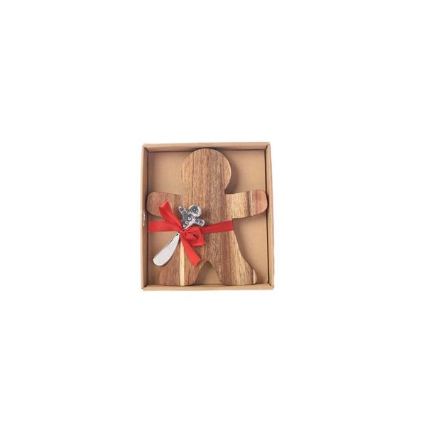 Acacia Cheese Board - Gingerbread Man (608648G)