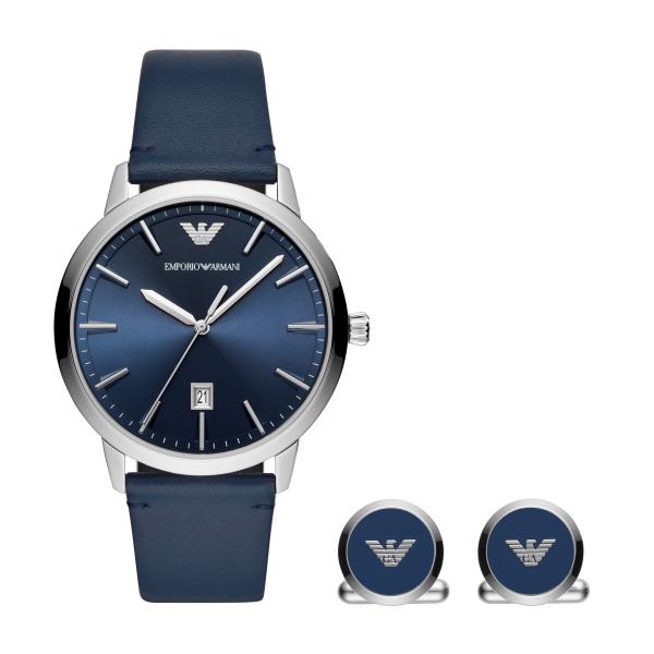 Ruggero Blue Leather Watch and Cufflink Set (AR80032)