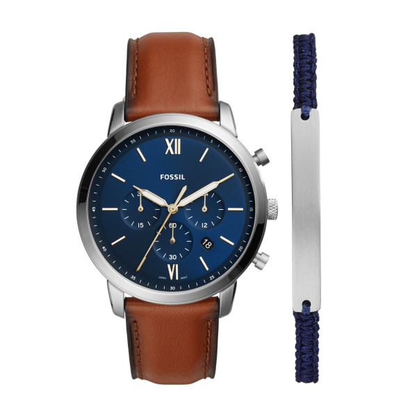 Neutra Chronograph Luggage Leather Watch and Bracelet Set (FS5708SET)