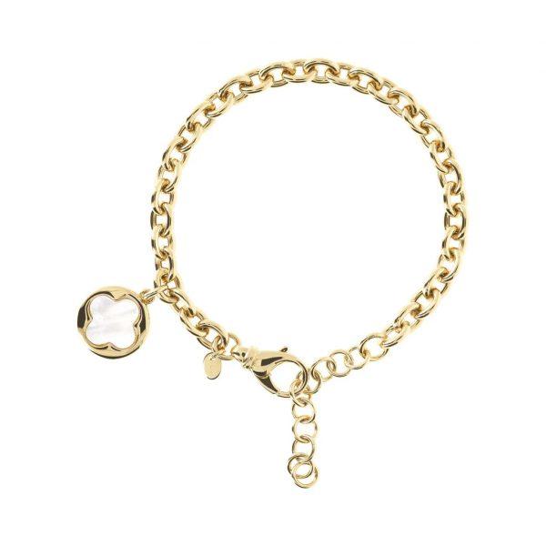 Four Leaf Clover Charm Chain Bracelet Yellow Gold (WSBZ00912Y.WM)