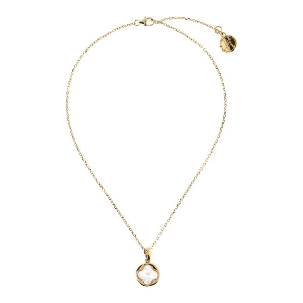 Four Leaf Clover Charm Necklace Yellow Gold (WSBZ00916Y.WM)