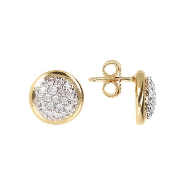 Golden CZ Gemstone Earrings (WSBZ01573Y.Y)