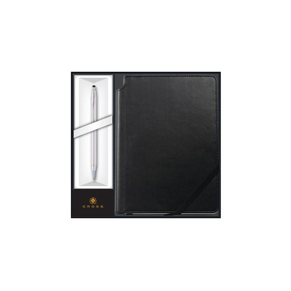 Classic Century Lustrous Chrome Ballpoint with Classic Black Journal Gift Set (3502/1M)