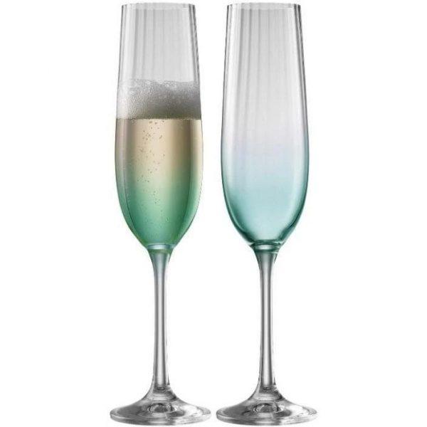 Erne Champagne Flute Pair Aqua (G323012)