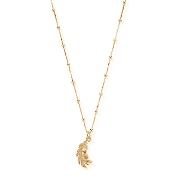 Bobble Chain Heart In Feather Necklace - Gold (GNBB1078)