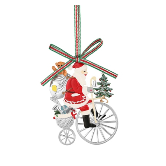 Santa on Penny Farthing Bicycle (LS613)