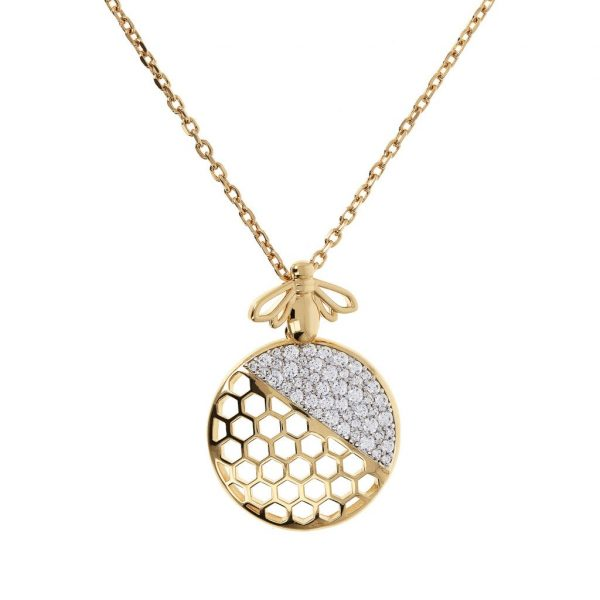 'Bee You' Golden Fancy Necklace with CZ Bee Pendant (WSBZ01414Y.W)