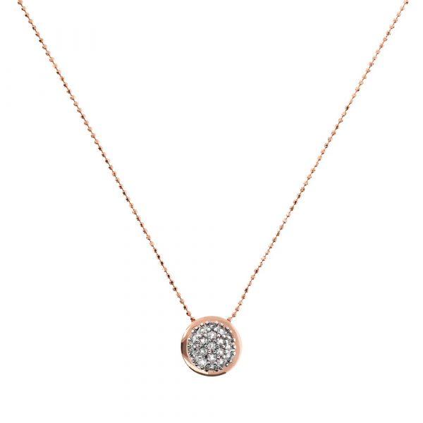 Round Pendant Necklace with Pavè CZ (WSBZ01609.W)
