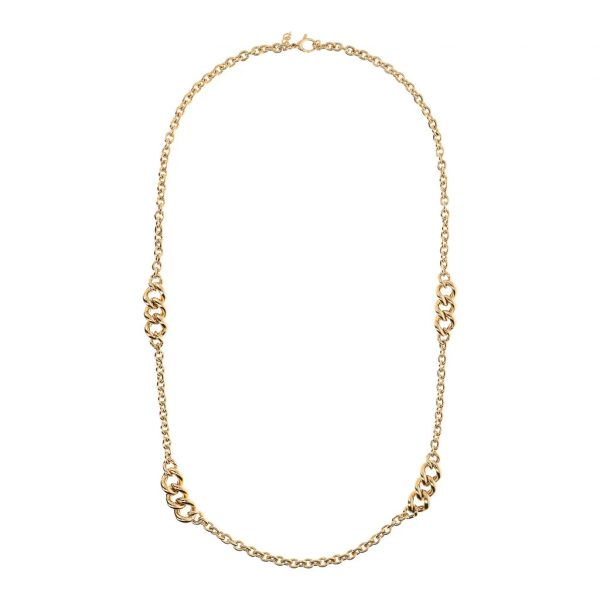 Golden Necklace with Curb Insert (WSBZ01749Y.Y)