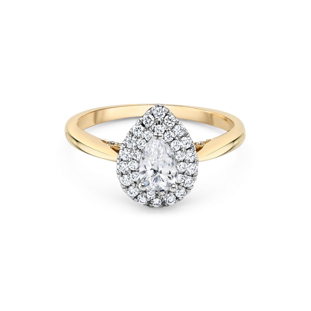 18ct Yellow Gold Halo Engagement Ring