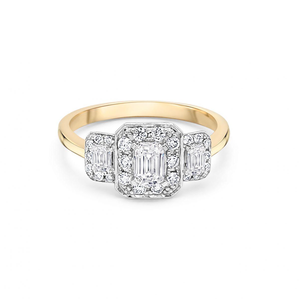 18ct Yellow Gold Three Stone Halo Engagement Ring
