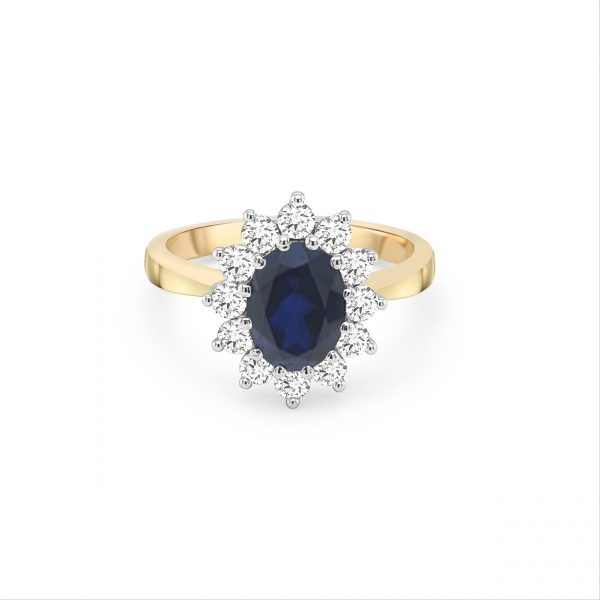 9ct Yellow Gold Blue and White Cubic Zirconia Cluster Ring