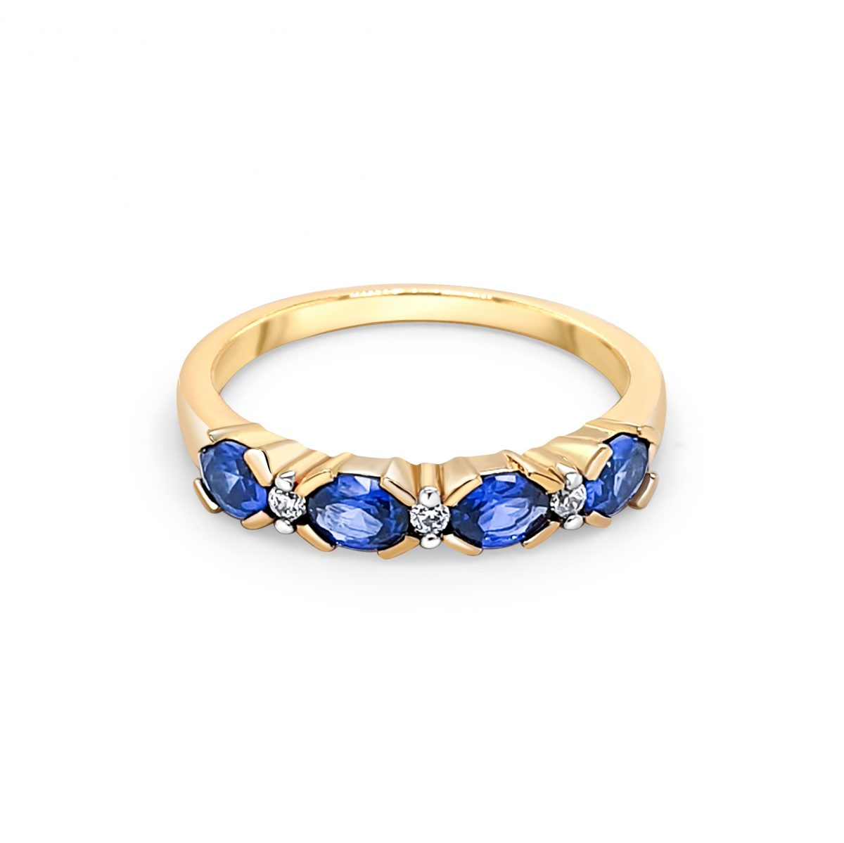 9ct Yellow Gold Blue and White Stone Ring