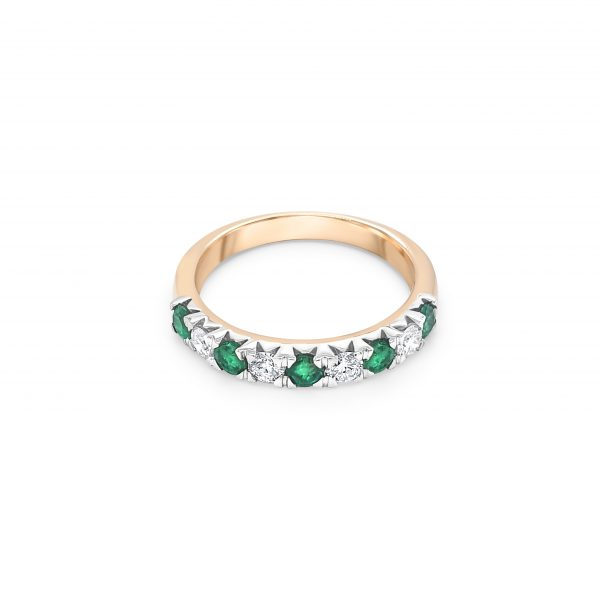 9ct Yellow Gold Emerald and Diamond Dress Ring