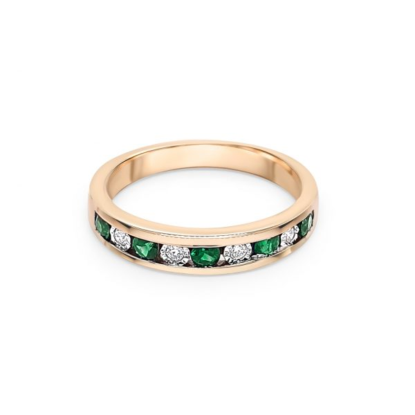 9ct Yellow Gold Emerald and Diamond Ring