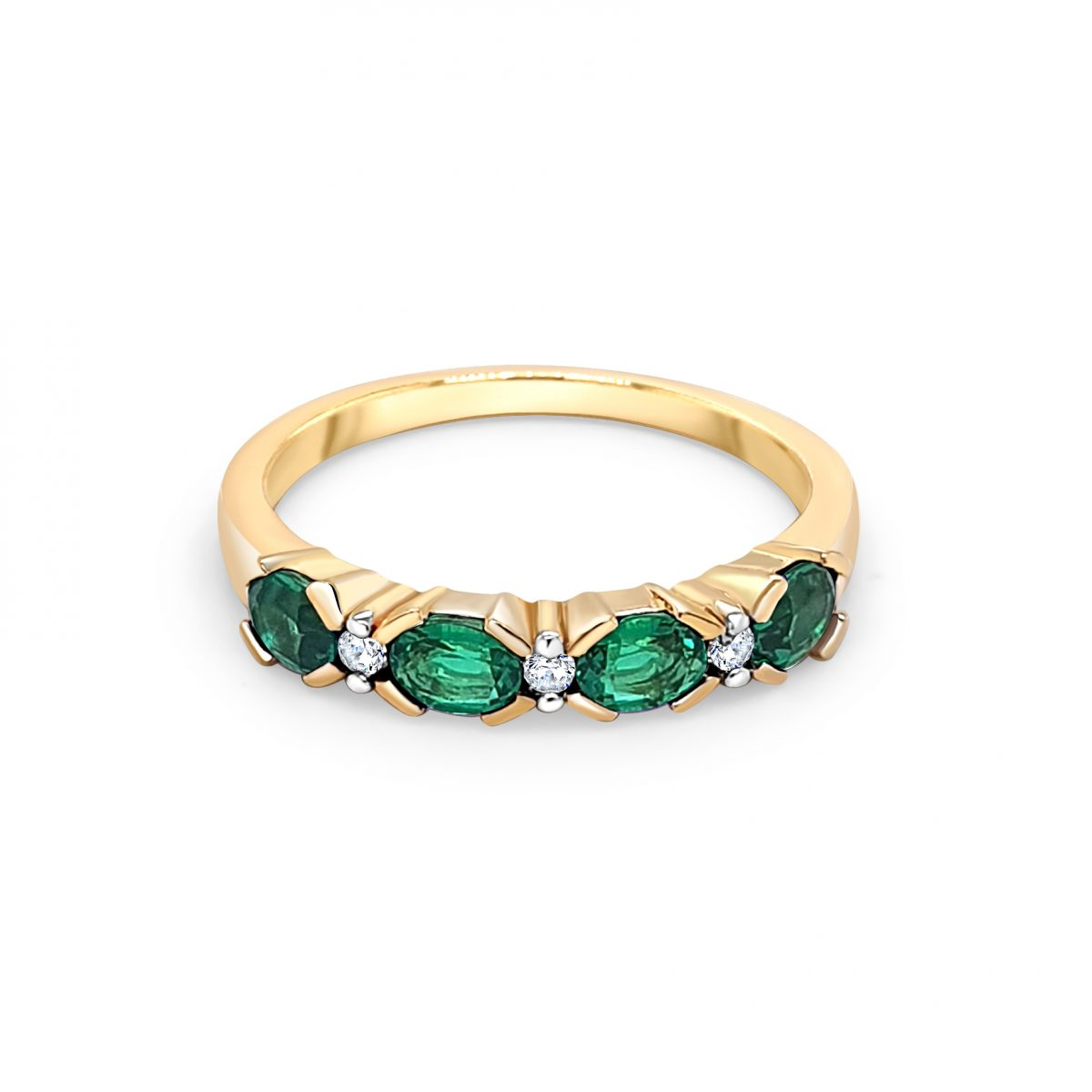 9ct Yellow Gold Green and White Stone Ring