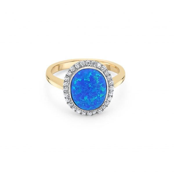 9ct Yellow Gold Opal and CZ Dress Ring