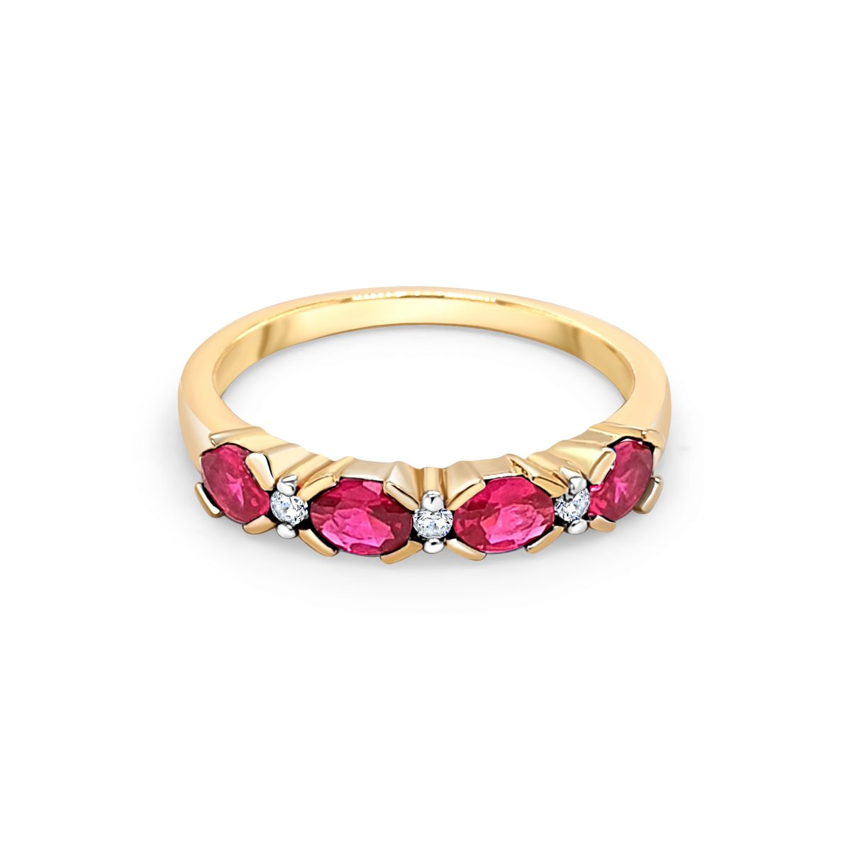 9ct Yellow Gold Red and White Stone Ring