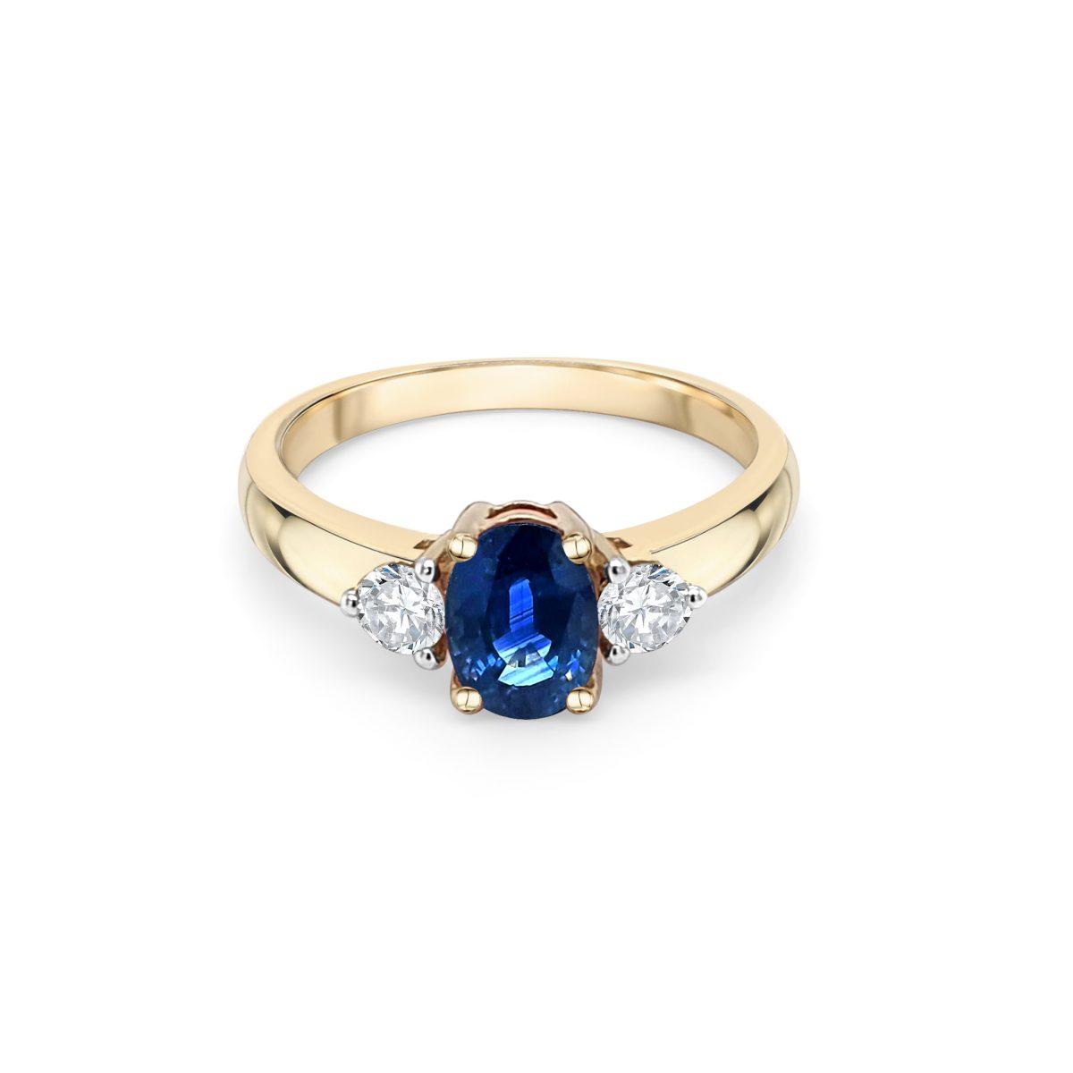 9ct Yellow Gold Sapphire and Diamond Dress Ring
