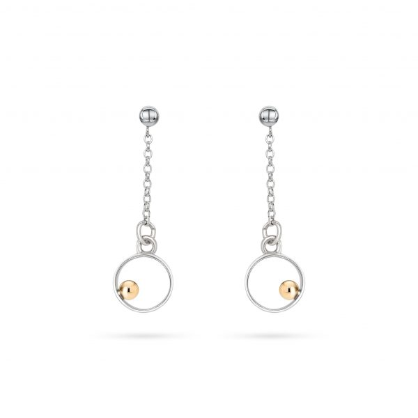 Cathal Barber Goldsmith Circle Drop Earrings in Silver and Gold