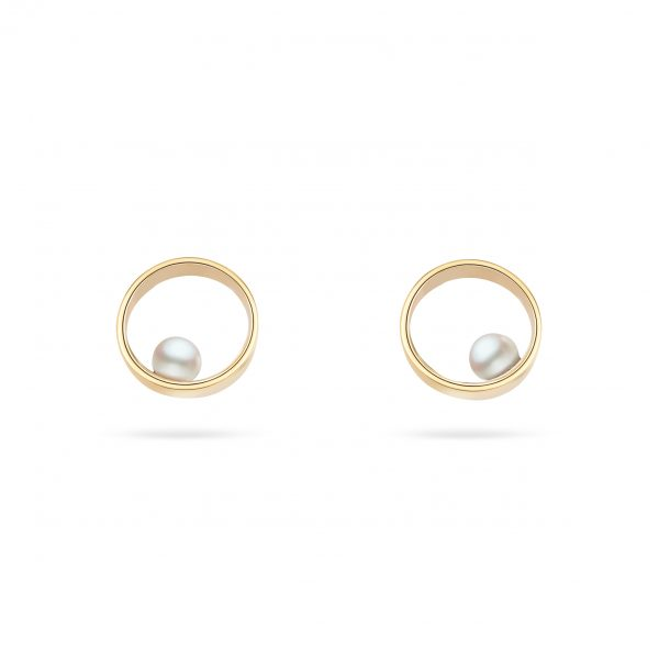 Cathal Barber Goldsmith Circle Earrings in Gold with Pearls