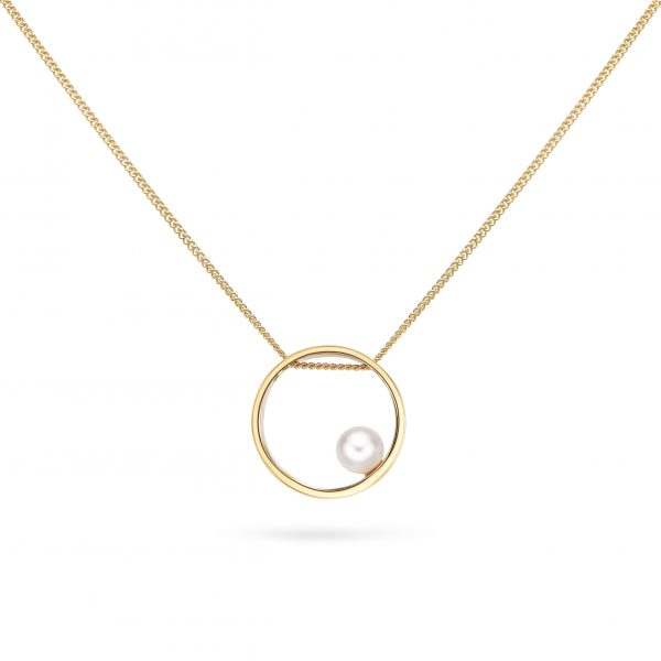 Cathal Barber Goldsmith Circle Pendant in Gold with Pearl