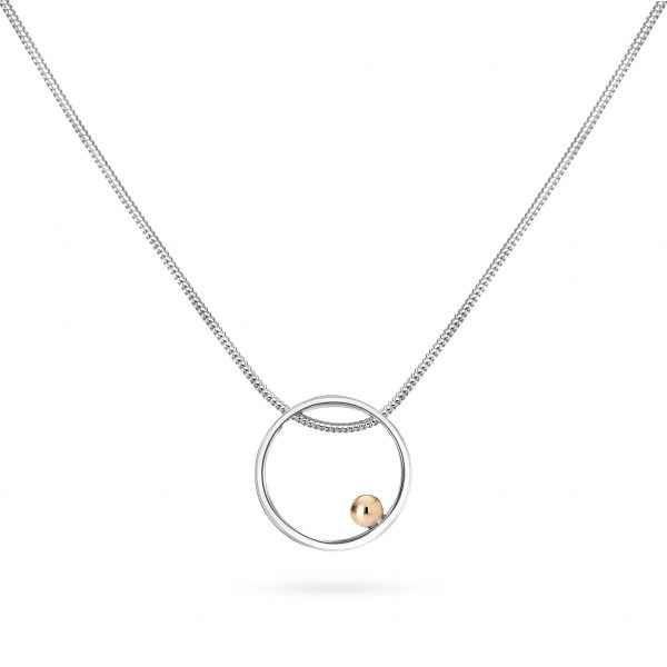 Cathal Barber Goldsmith Circle Pendant in Silver and Gold