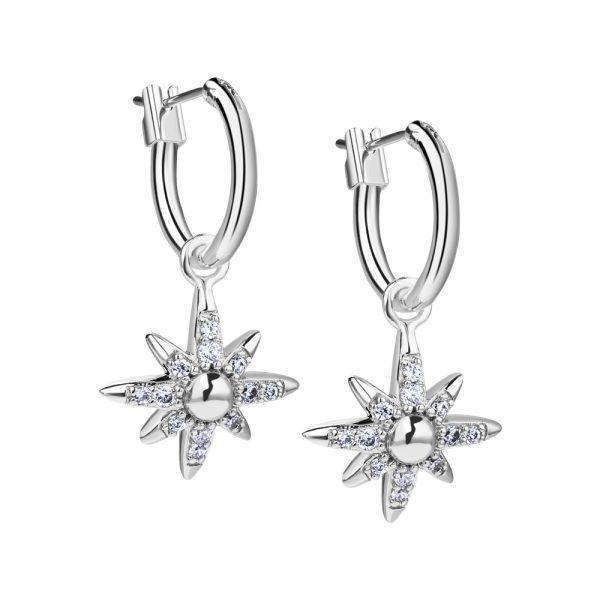Newbridge Silverware Silver Plated Star Earrings with Clear Stones (E022SR)