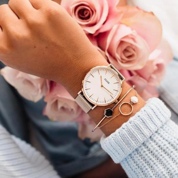 Cluse Boho Chic Mesh White and Rose Gold Colour (CW0101201001)