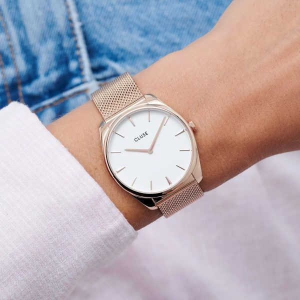 Cluse Féroce Mesh White and Rose Gold Colour (CW0101212002)