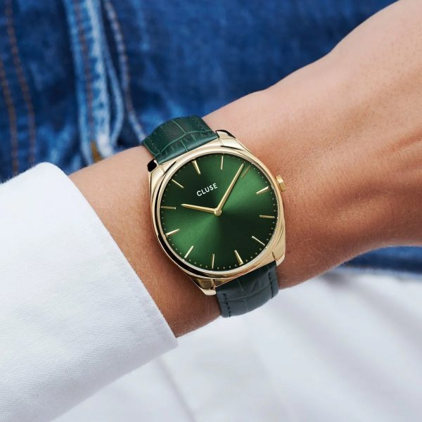 Cluse Féroce Leather Forest Green and Gold Colour (CW0101212006)