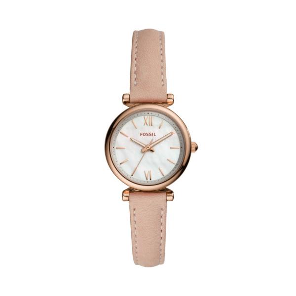 Fossil Carlie Mini Three-Hand Blush Leather Watch (ES4699)