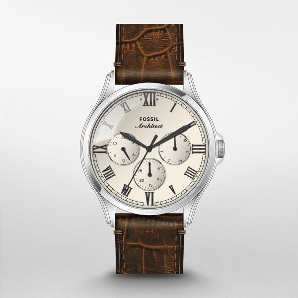Fossil Arc-02 Brown Leather Watch (FS5800)