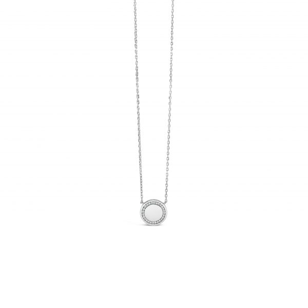 Absolute Silver Cubic Zirconia Circle Pendant (SP138SL)