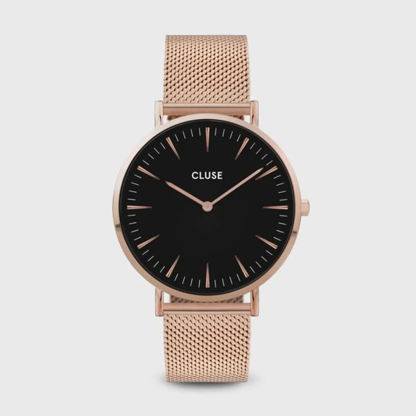 Cluse Boho Chic Mesh Black and Rose Gold Colour (CW0101201003)