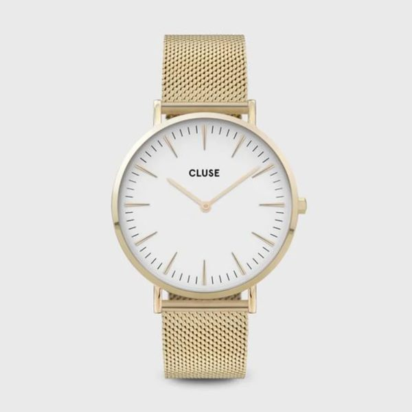 Cluse Boho Chic Mesh White and Gold Colour (CW0101201009)