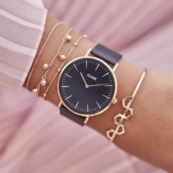 Cluse Boho Chic Mesh Black and Rose Gold Colour (CW0101201010)