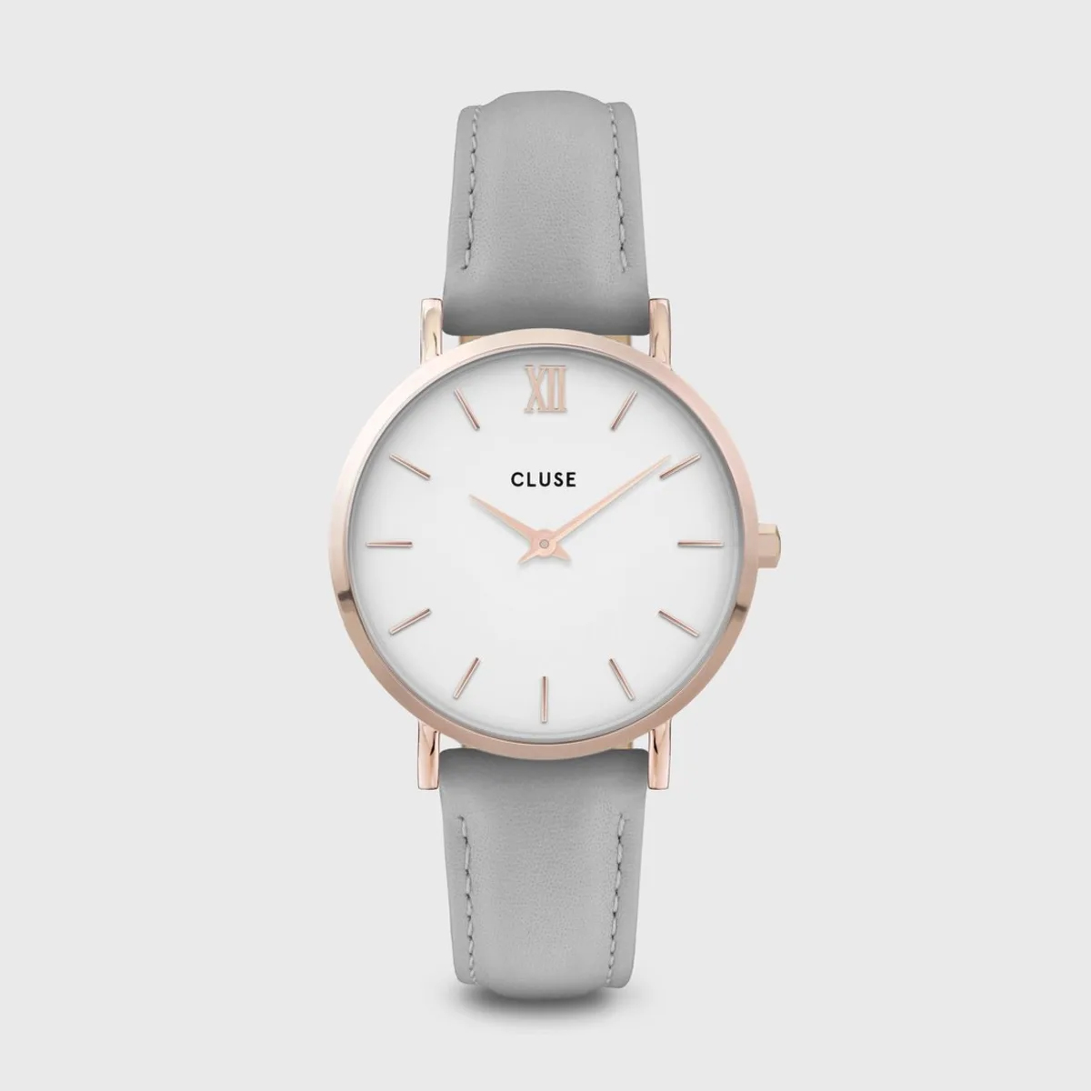 Cluse Minuit Leather Grey and Rose Gold Colour (CW0101203010)