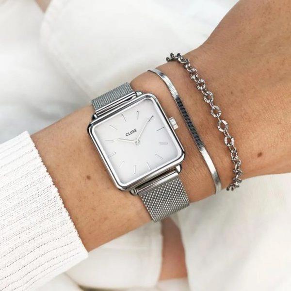Cluse La Tétragone Mesh White Silver Colour (CW0101207003)