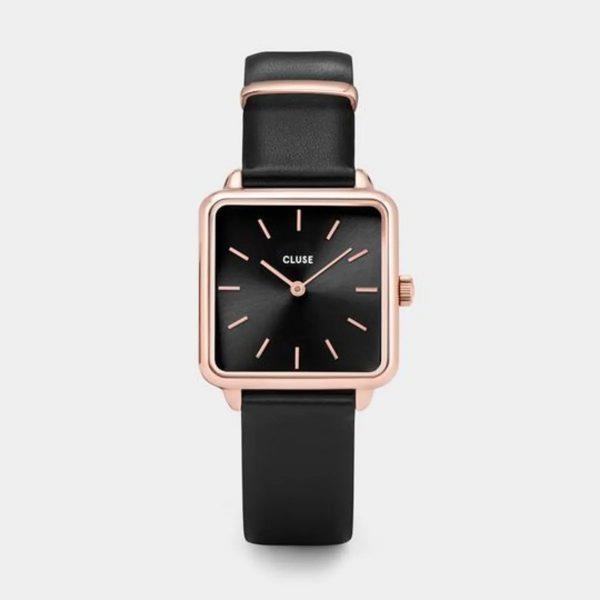 Cluse La Tétragone Leather Black and Rose Gold Colour (CW0101207011)