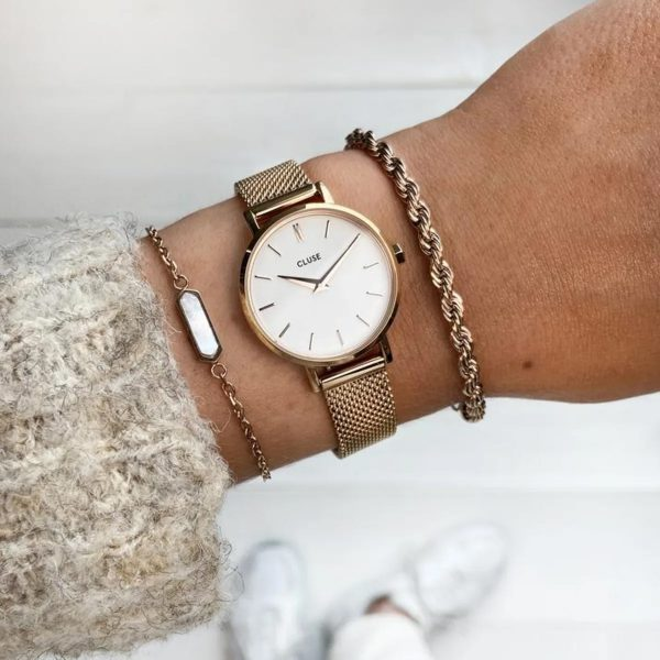Cluse Boho Chic Petite Mesh White and Rose Gold Colour (CW0101211003)