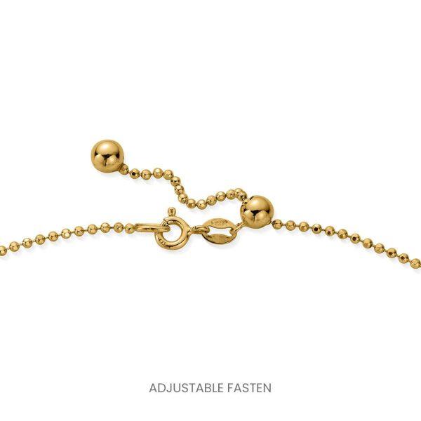 ChloBo Personalised Diamond Cut Adjuster Necklace with Heart Charm - Gold (PGCDCADJ3063)
